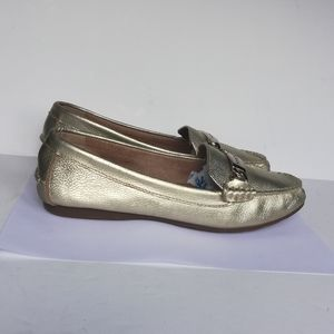 Coach Women's Olive Gold Pebbled Leather Loafers